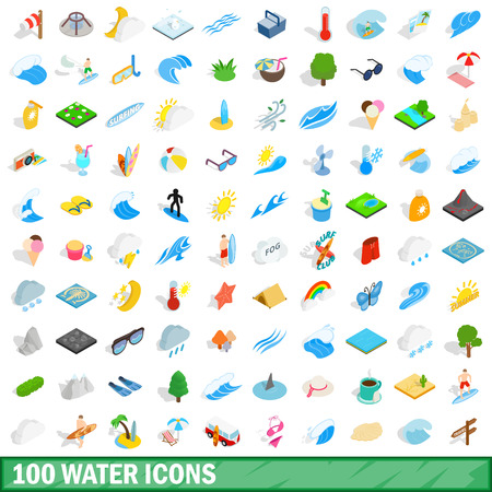 purified: 100 water icons set, isometric 3d style