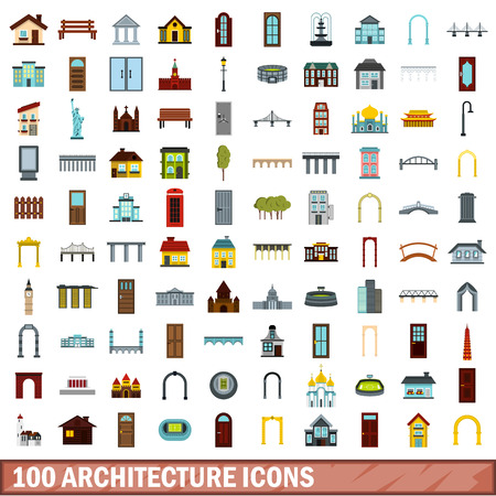 100 architecture icons set in flat style for any design vector illustration