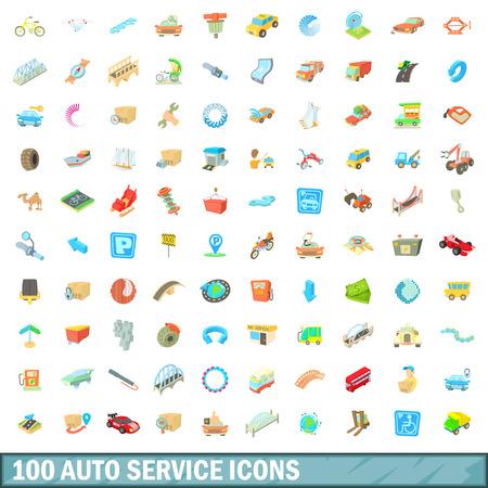 100 autoservice icons set, cartoon style