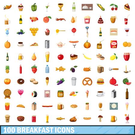 ice tea: 100 breakfast icons set, cartoon style