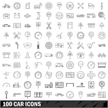 refueling: 100 car  icons set, outline style