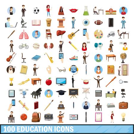 art museum: 100 education icons set, cartoon style Illustration