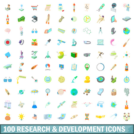 chemic: 100 research and development icons set in cartoon style for any design vector illustration