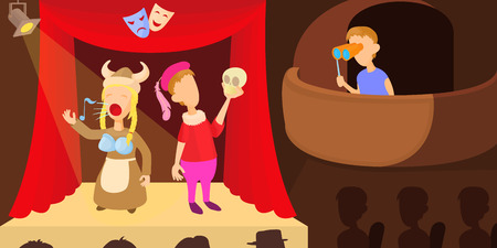Theater actors horizontal banner, cartoon style