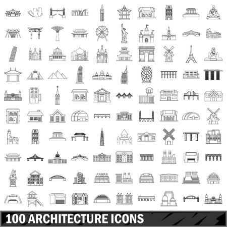 colliseum: 100 architecture icons set, outline style