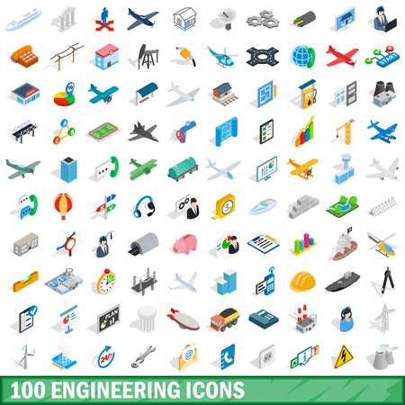 100 のエンジニア リングのアイコン セット、等角投影の 3d スタイル