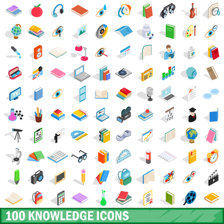 100 knowledge icons set, isometric 3d style