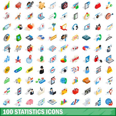 100 Statistiken Symbole gesetzt, isometrische 3D-Stil