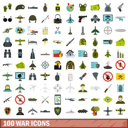 100 icônes de guerre ensemble, style plat