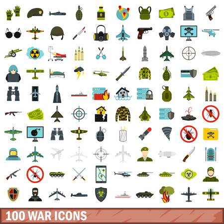 wounded: 100 war icons set, flat style