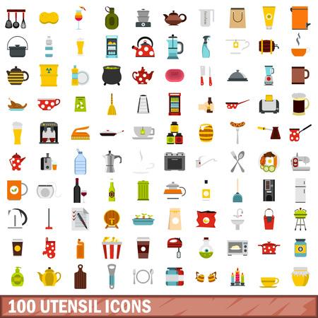 100 utensil icons set, flat style