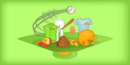 Baseball horizontal banner, cartoon style