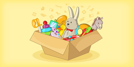 Box with toys horizontal banner, cartoon style Illustration