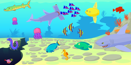 Ocean fish scene horizontal banner, cartoon style