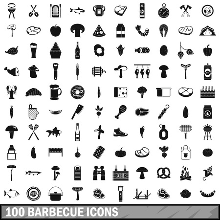 bbq barrel: 100 barbecue icons set, simple style