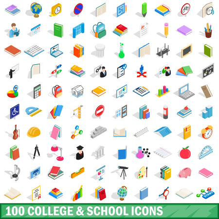 100 college and school icons set
