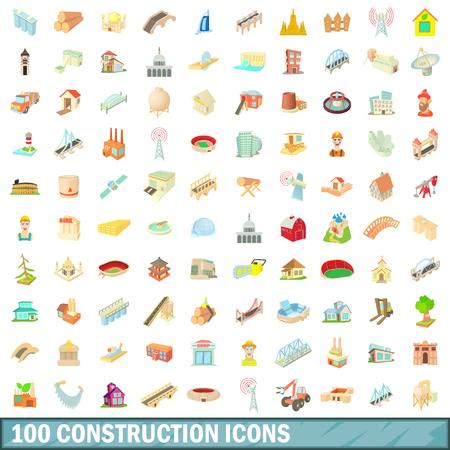 office windows: 100 construction icons set, cartoon style