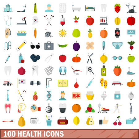 rope walker: 100 health icons set, flat style Illustration