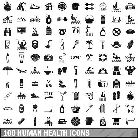 100 human health icons set, simple style Illustration