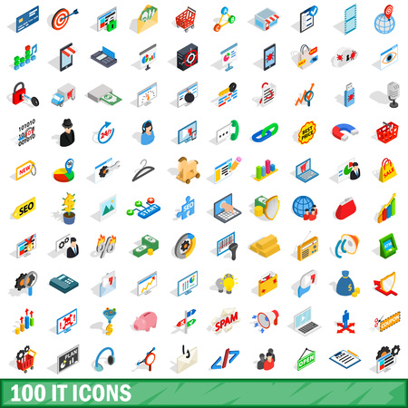 100 it icons set, isometric 3d style Illustration