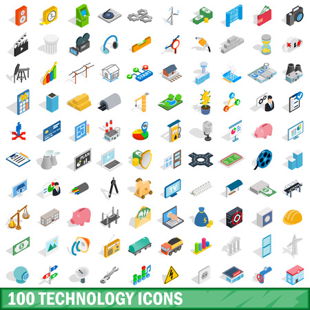 100 technology icons set, isometric 3d style