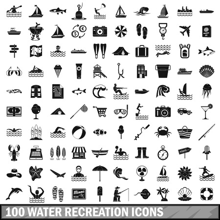 flippers: 100 water recreation icons set, simple style
