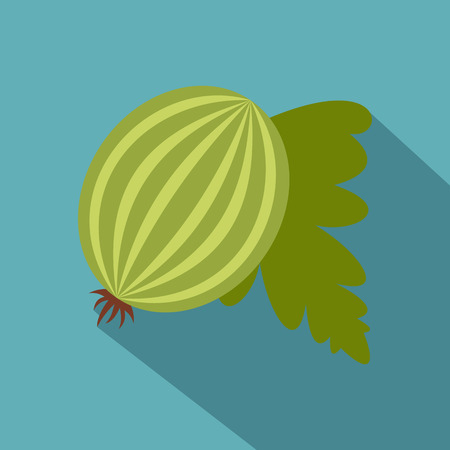 Fresh green gooseberry with leaves icon