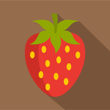 Red fresh strawberry icon, flat style