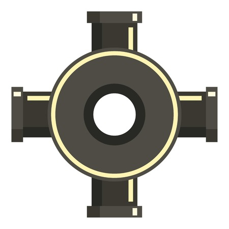 steam iron: Black pipe fitting icon, flat style