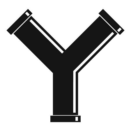 oil and gas industry: Joint pipe in form Y letter icon, simple style Illustration