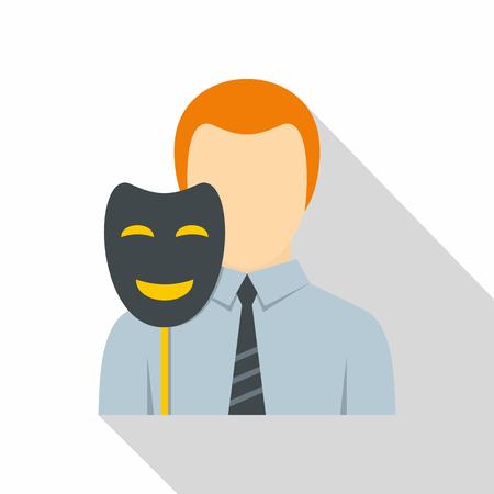Businessman holding fake mask smile icon
