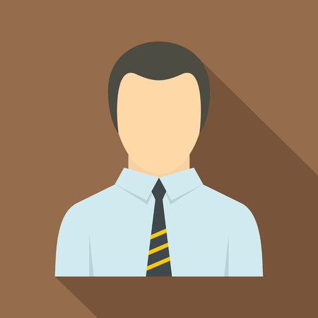 Man in business suit as user icon, flat style