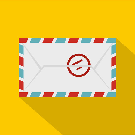 Postage envelope with stamp icon, flat style Illustration