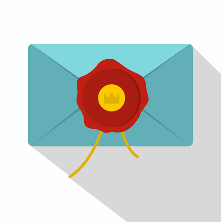 Blue envelope with red wax seal icon, flat style Illustration