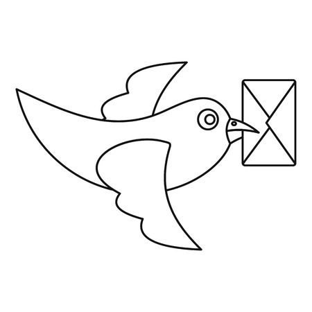 carrier pigeons: Pigeon bird flying with envelope icon