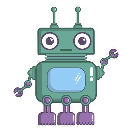 Robotic toy icon, cartoon style