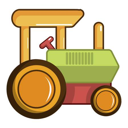 Colorful tractor toy icon, cartoon style
