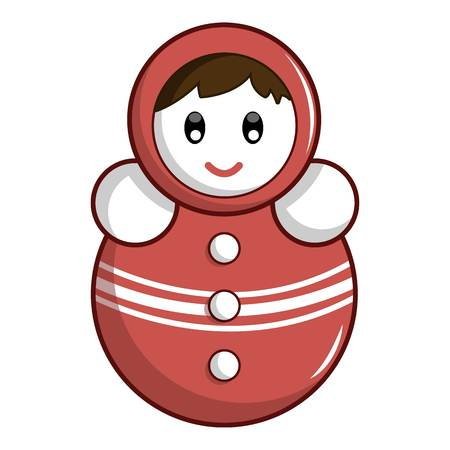 Red tumbler doll icon, cartoon style