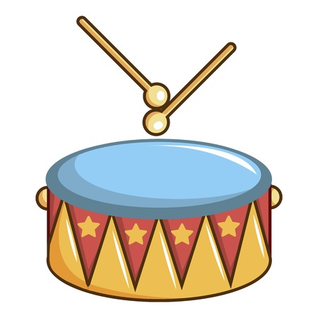 Colorful drum and drumsticks icon, cartoon style