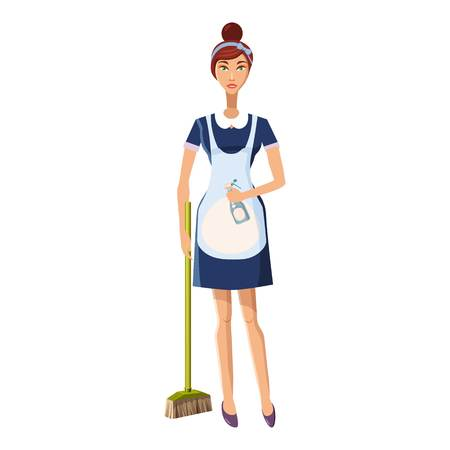 Woman with brush icon, cartoon style Illustration