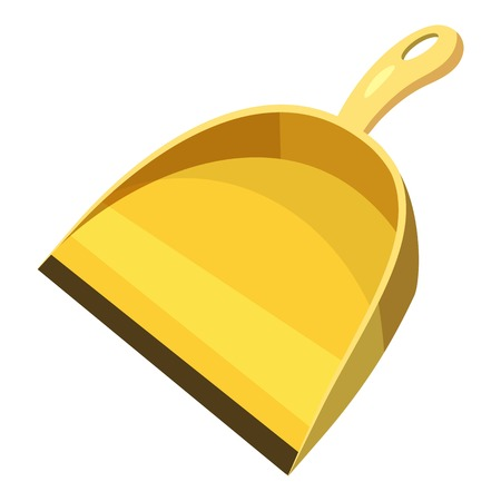 Yellow scoop for cleaning icon, cartoon style Illustration