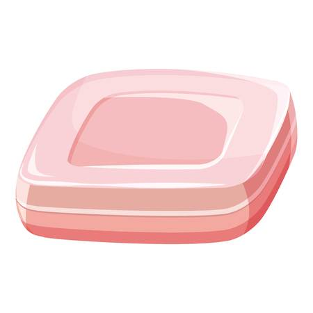 Pink soap bar icon, cartoon style