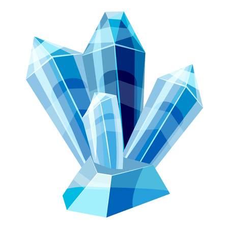 Blue crystals icon, cartoon style