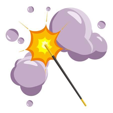 Magic wand icon, cartoon style
