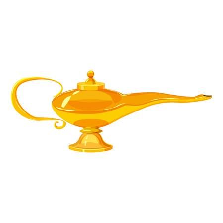 Middle east oil lamp icon, cartoon style Illustration