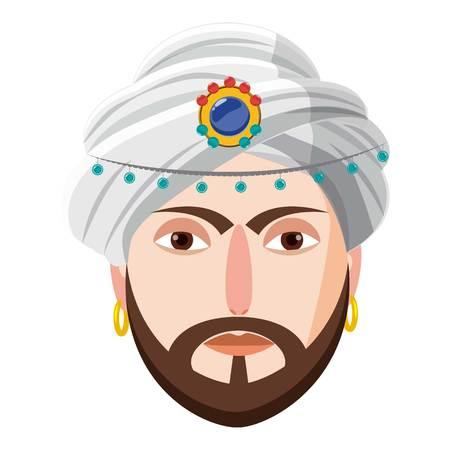 Eastern magician icon, cartoon style