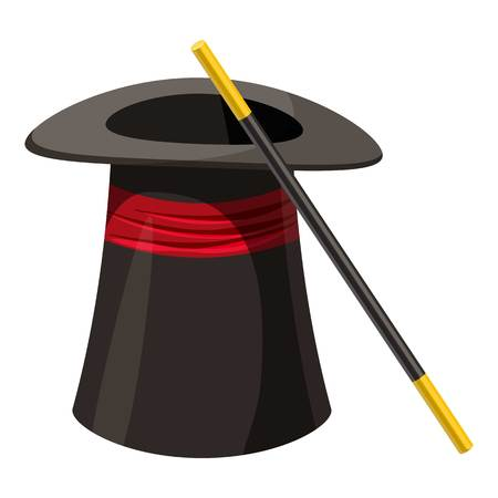 Magic hat and wand icon, cartoon style