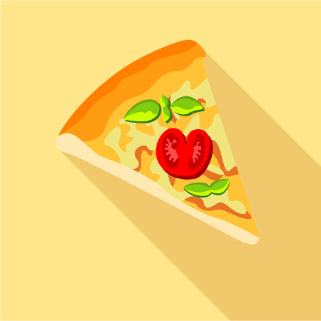 Pizza with tomatoes and basil icon, flat style