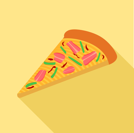 mediterranean: Pizza with peppers and bacon icon, flat style
