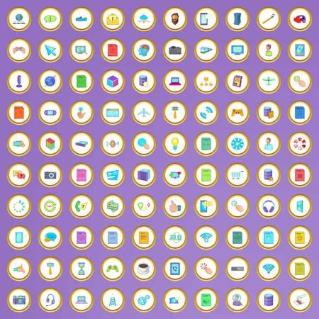 100 iconos de la aplicación establecidos en estilo de dibujos animados sobre fondo púrpura ilustración vectorial Ilustración de vector